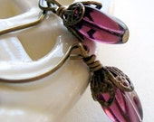 Amethyst Purple Brass  Bud Earrings Shabby Chic Cottage Style Mothers Day Outdoor Wedding Garden