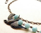 Bird Necklace with Blue Gemstones Jewelry