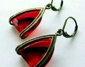 Red Triangle Earrings, Unique Rhinestone earrings, Red Drop Earrings