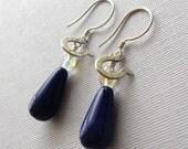 Colts Blue Glass Earrings, Horseshoe Earrings, Sterling Silver Earrings