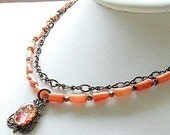 Peach Coral Necklace with Vintage Glass Pendant Brass Necklace