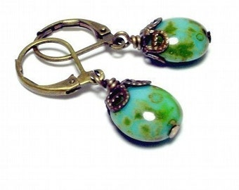 Olive green and Blue Glass Brass Earrings with Filigree Caps
