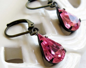 Pink Rhinestone Earrings, Pink Teardrop Earrings, Pink Earrings, Rhinestone Earrings