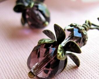 Purple Petal Flower Earrings, Gift for Her Jewelry
