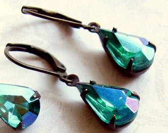 Gift for her, Teal Rhinestone Earrings, Blue Green Rhinestone Earrings,