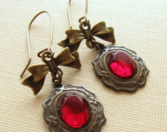 July Birthstone Red Buttons and Bows Brass Earrings     1920  delicate jewelry