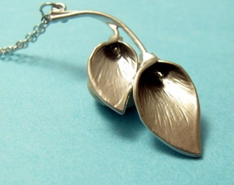 Silver Calla Lily Necklace    Minimalistic Modern Geometric, Gift for Her Jewelry