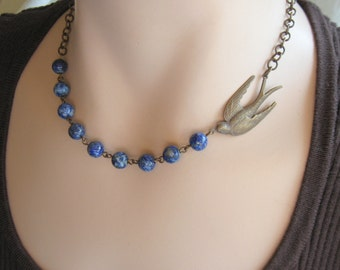 Blue bird Necklace, BlueBird Necklace, Nature Jewelry, Woodland Jewelry, Bird Watcher, Nature Lover, Gemstone Necklace