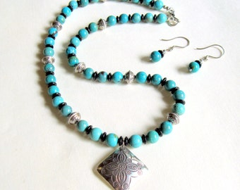 Turquoise and Sterling Silver Necklace and Earring Set   Gift for Her Jewelry petite and plus size available
