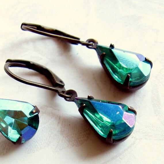 Gift for her, Teal Rhinestone Earrings, Blue Green Rhinestone Earrings,