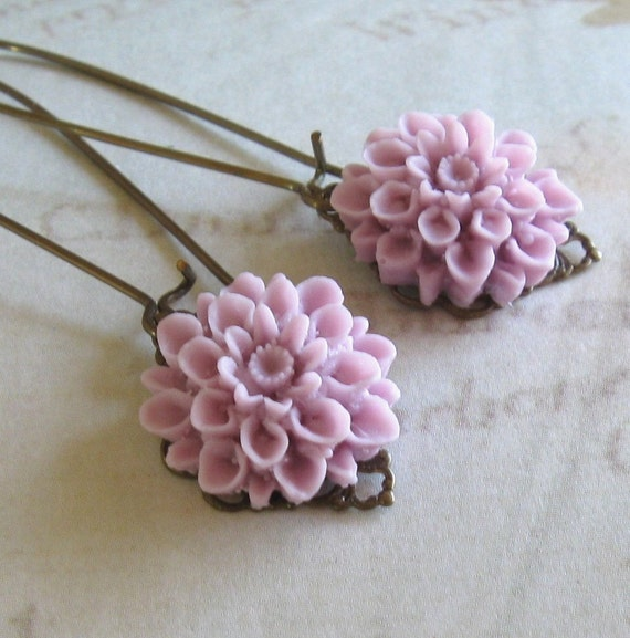 Purple Flower and Filigree Earrings Cottage Style Shabby Chic Mothers Day Outdoor Wedding Garden