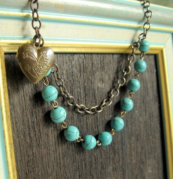 Boho Chic Turquoise Jewelry Turquoise Statement Statement Necklace Blue Bib Necklace Bohemian Necklace Locket Jewelry Blue and Brown