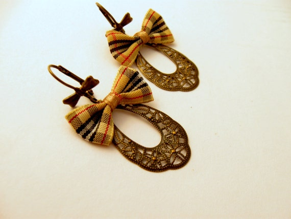 Plaid Bow Earrings Perfect for Back to School