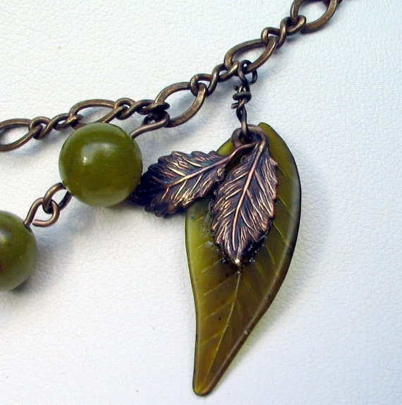 Olivia - Olive Gemstone, Lucite, and  Brass Necklace