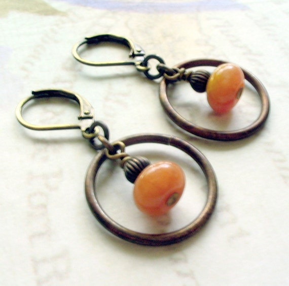 Creamsicle Hoop Earrings Shabby Chic Cottage Style Mothers Day Outdoor Wedding Garden