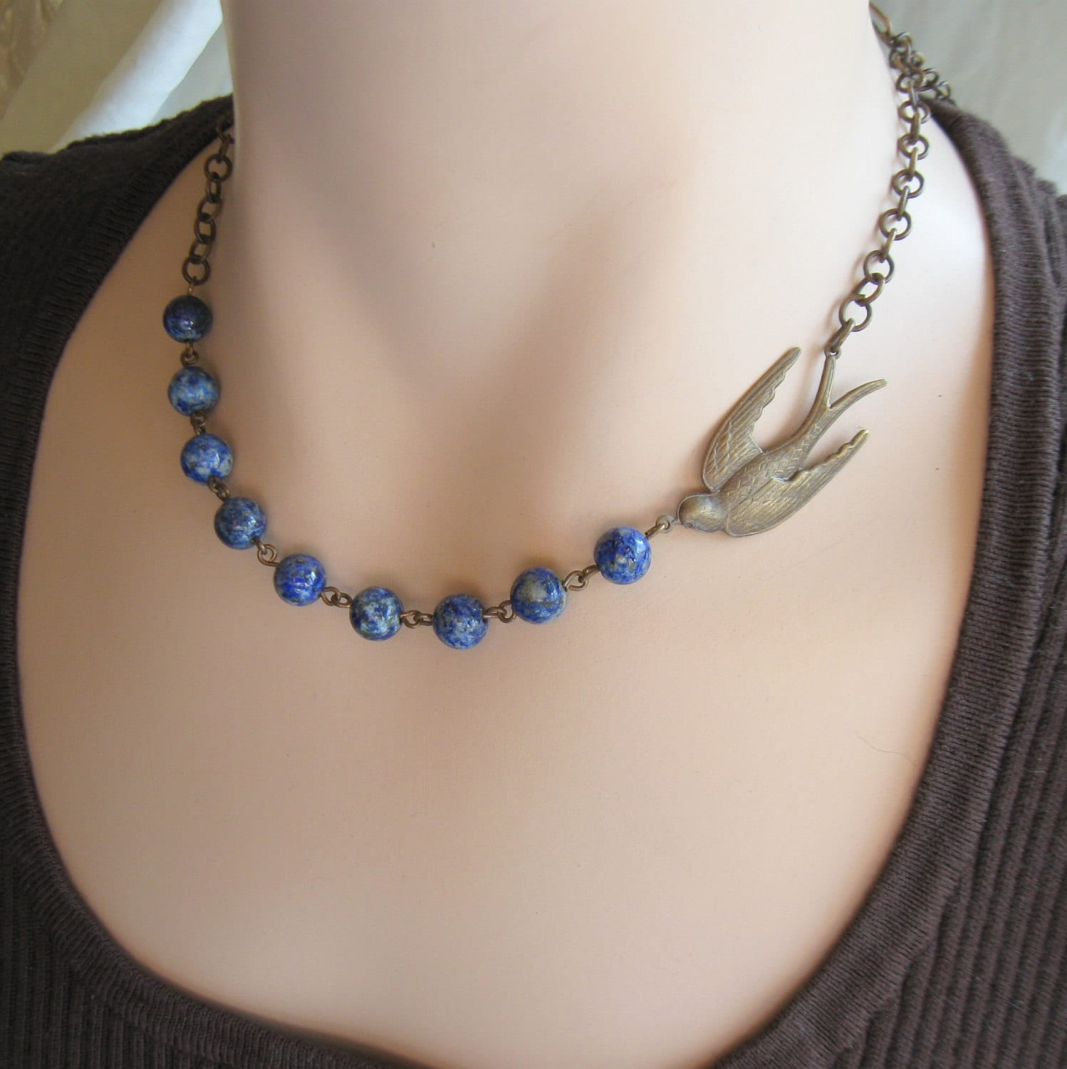 bird jewelry blue bird necklace bluebird necklace nature jewelry 4777