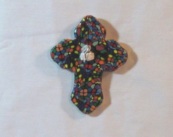 Polymer clay on ceramic WALL CROSS