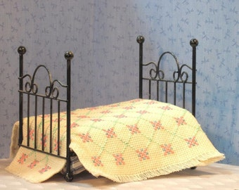 Miniature hand worked Bedspread in cream pink and green