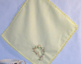 Yellow hand embroidered handkerchief with cross - 2