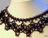 Lady Dedlock - Stunning Wide Black Tatted Necklace with Purple Pearls