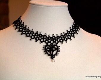 Black Heart Tatted Necklace & Swarovski Crystal