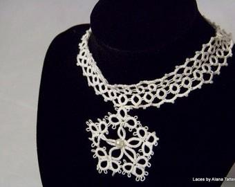 Tatted Wedding Jewelry - Celtic Star - Lace White Bridal Choker