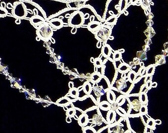Winter Star - White Tatted Wedding Lace Necklace with Swarovski Crystals and Ribbon ties