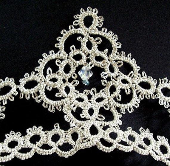 Fairytale Cinderella Princess Tatted Silver Wedding Crown with Swarovski Crystals