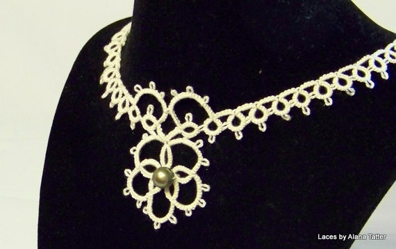 Timeless Beauty - Ecru Tatted Lace Necklace with Freshwater Pearl
