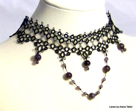 Statement Black Tatted Lace Choker with genuine Amethysts - OOAK
