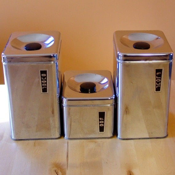 vintage 1950s deco silver kitchen canister set by happydashery