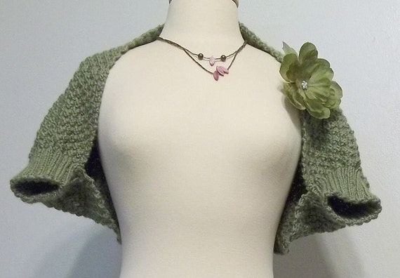 Handknitted  Fern Green Cropped - Shrug - Sweater - Ready to SHIP - OOAK