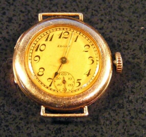 Ladies Elgin wrist watch, 1917, solid 14kt gold case, Runs, 15 jewel