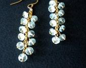Aquamarine Earrings, 14K Gold Fill, Dangle Earrings, Rondelles, Valentine's Day