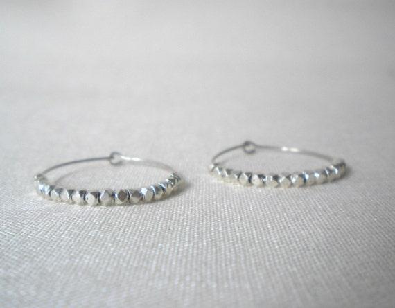 Silver Beaded Hoops, Nuggets