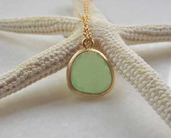 Green Faceted Drop Necklace, 14K Gold Filled Chain