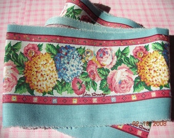 """Vera Bradley Fabric Trim Border Sewing and Craft fabric retired Floral Pastel Pink and Blue Hydrangea Pattern 1 yard x 4 """" wide"""
