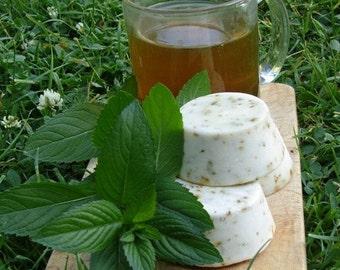 Green Tea with Peppermint Soap 2 Handmade Hemp Soap Round Bars FREE SHIPPING