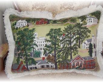 "Barkcloth Pillow  Grandma Moses Fabric Barkcloth ""Williamstown""  Barkcloth Pillow  Large 17"" x 24"" sewbuzyb"