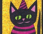 Party Cat...Original Whimsical Cat Art