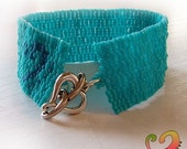 Turquoise Addiction - Blue Peyote Cuff Bracelet