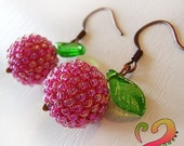 Summer Fruits - Pink and Green Beaded Beads Earrings