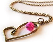 Veronica Love heart pendant in bronze and magenta pink