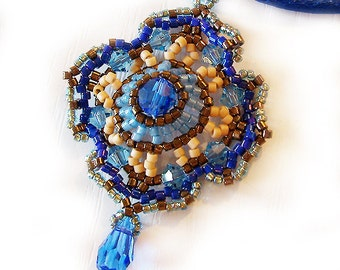 Blue Romantic Victorian Pendant Necklace - Swarovski and Delica Beads Beadwork Necklace