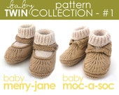 The Baby Twin Pattern Collection 1:  Moc-a-Soc and Merry-Jane Bootie PATTERNS