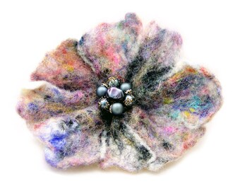 Multi-Colored Felted Flower Brooch Pin with Vintage Beads