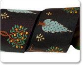 "RESERVED for  DORE  3"" wide Orange Trees Ribbon by LFN Textiles, woven jacquard design, tree of life"