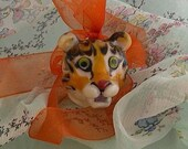 Timid Tiger Lampwork Bead Wearable Art Glass Sculpture