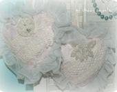 Shabby and romantic heart Christmas ornaments, set of 2 ECS SCT CSST