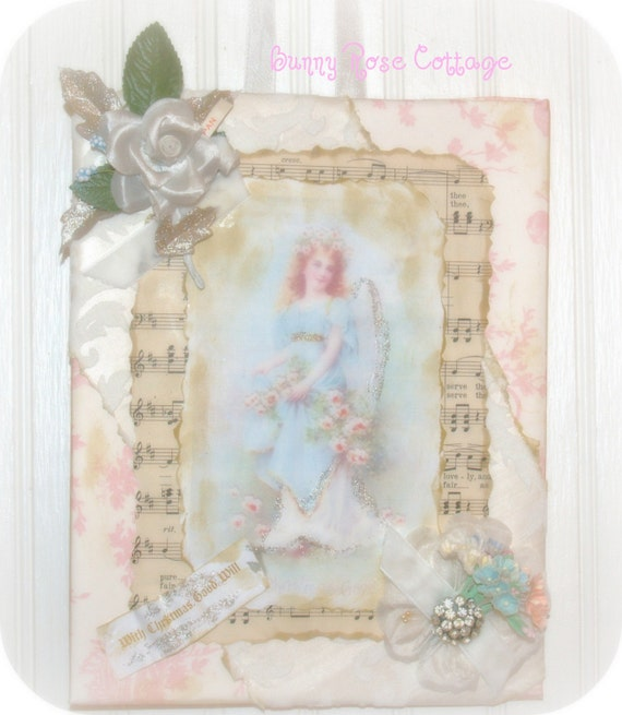 Angel and Roses Shabby Christmas Collage flocked wallpaper millinery rose csst